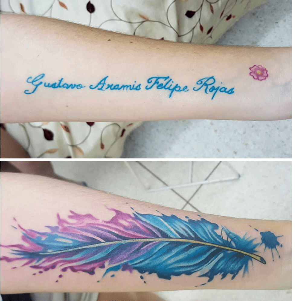 feather tattoo cover up